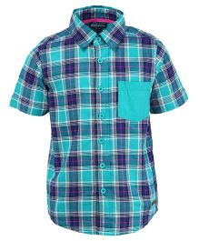 Bells and Whistles Half Sleeves Check Shirt - Sea Green