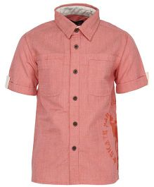 Bells and Whistles Half Sleeve Casual Shirt - Peach