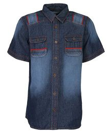 Bells and Whistles Half Sleeves Denim Shirt - Blue