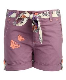 Bells and Whistles Shorts With Tie Up Belt - Purple