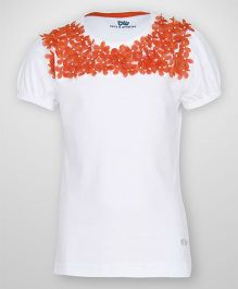 Bells and Whistles Short Sleeves Top Laser Cut Floral Applique - White