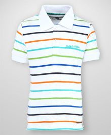 Bells and Whistles Half Sleeves Striped Polo T-Shirt - White