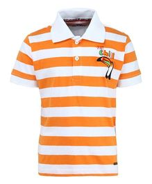 Bells and Whistles Half Sleeves Striped Polo T-Shirt - White Orange