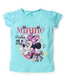 Disney by Babyhug Minnie & Caption Print Top - Aqua