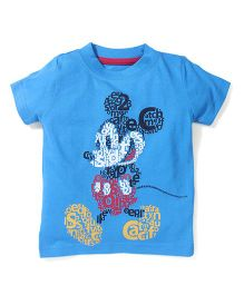 Disney by Babyhug Mickey Print T-Shirt - Sky Blue