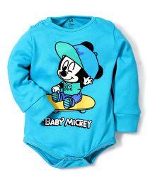 Disney by Babyhug Full Sleeves Baby Mickey Print Onesies - Aqua