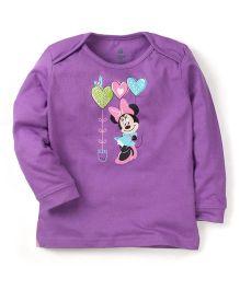 Disney by Babyhug Minnie & Heart Print Sweat T-Shirt - Purple