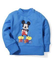 Disney by Babyhug Mickey Mouse Print Sweat T-Shirt - Blue