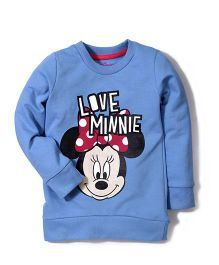Disney by Babyhug Full Sleeves Minnie & Caption Print Sweat T-Shirt - Blue