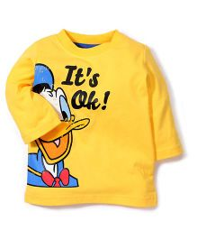 Disney by Babyhug Full Sleeves Donald Duck And Caption Print T-Shirt - Yellow