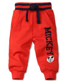 Disney by Babyhug Mickey Print Track Pant - Red