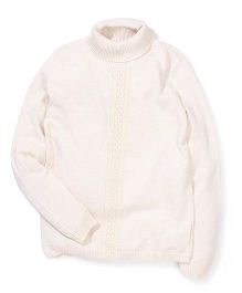 Mothercare Lace Panel Knitted Roll Neck Sweater - Cream
