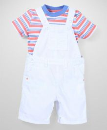 Mothercare T-Shirt With Dungaree Style Romper - Off White