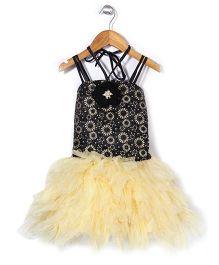Bluebell Singlet Tutu Frock Dress Floral Applique - Yellow Black