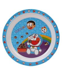 Doraemon Round Plate - Blue And White
