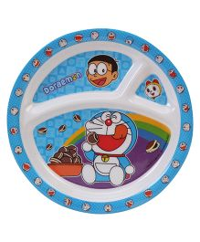 B Vishal Doraemon 3 Compartment Plate - Blue And White