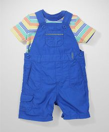 Mothercare Dungaree Style Romper With T-Shirt - Royal Blue