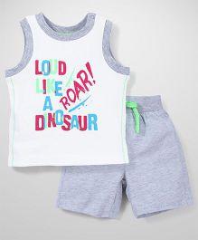 Mothercare Sleeveless Vest And Shorts Set Dinosaur Print - White & Grey