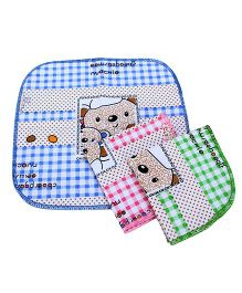 Sapphire Face Napkin With Teddy Bear Print Set Of 3 - Blue Pink and Green