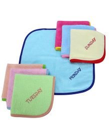 Sapphire Face Napkin With Names of Day Embroidery Set Of 7 (Color May Vary)