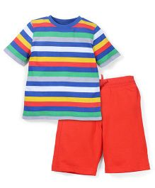 Mothercare Half sleeves Striped T-Shirt And Shorts - Multicolor