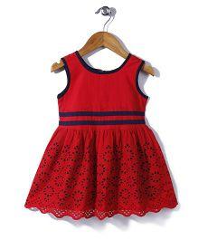 Babyhug Sleeveless Frock Hakoba Embroidery - Red
