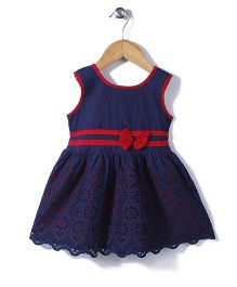 Babyhug Sleeveless Frock Hakoba Embroidery - Blue