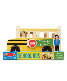 Melissa And Doug School Bus Wooden Toy - Yellow And Beige