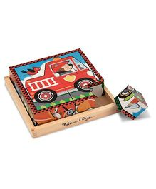 Melissa & Doug Vehicle Wooden Puzzle Cube - 16 Cubes