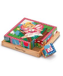 Melissa & Doug Princess And Fairy Wooden Cube Puzzle - 16 Cubes