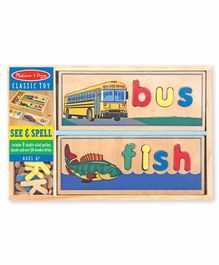 Melissa & Doug Wooden See And Spell Learning Toy Puzzle