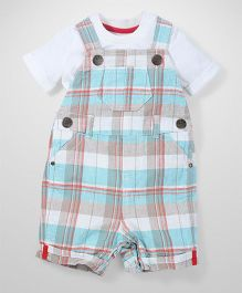 Mothercare Dungaree Style Romper With T-Shirt Checks Print - Multicolor