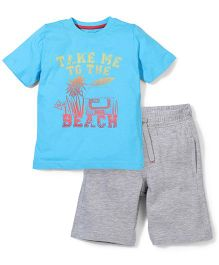 Mothercare T-Shirt And Half Pant Set Beach Print - Blue & Grey