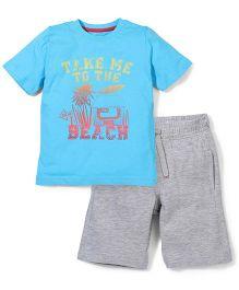 Mothercare T-Shirt And Half Pant Set Beach Print - Blue & Grey