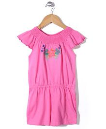 Mothercare Short Sleeves Jumpsuit Floral Embroidery - Pink
