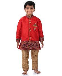 Babyhug Full Sleeves Kurta And Jodhpuri Breeches - Red & Light Brown