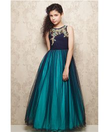 Doll Sleeveless Ornate Party Wear Frock - Blue