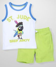 Mothercare Sleeveless Vest And Shorts Set Tropical Parrot Print - White & Green