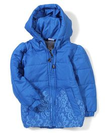 Babyhug Full Sleeves Hooded Jacket - Royal Blue