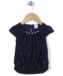 Babyhug Short Sleeves Top Self Design - Navy Blue