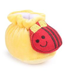 Cute Walk Booties Honeybee Motif - Lemon And Red