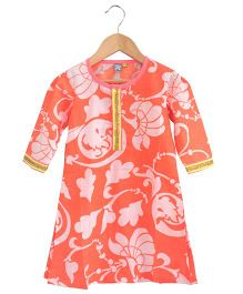 Frangipani Kids Floral Kurti  - Orange White & Yellow