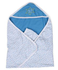 Babyhug 2 Ply Hooded Wrapper - Blue