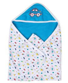 Babyhug 2 Ply Hooded Wrapper - Sky Blue