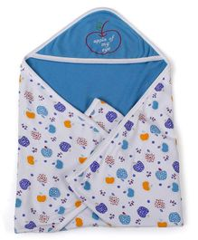Babyhug 2 Ply Hooded Wrapper - Blue And White