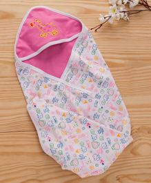 Babyhug 2 Ply Hooded Wrapper Giraffe Embroidery - Pink & White