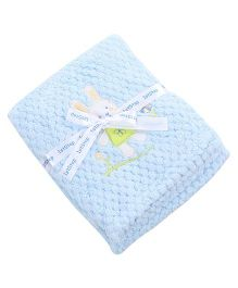 1st Step Baby Blanket Bunny Embroidery - Blue