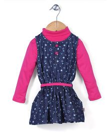 Baby League Denim Frock With Top Star Print - Navy Pink