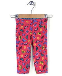 Baby League Pant Butterfly Print - Fuschia