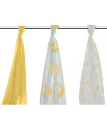 Mulmul Naturals Swaddle Wrapper Yellow White - Set of 3